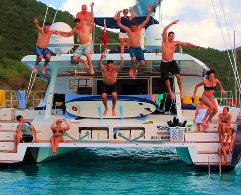 Jumping off a catamaran in the British Virgin Islands