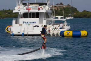 Flyboard on an Active Water Sports Yacht Charter