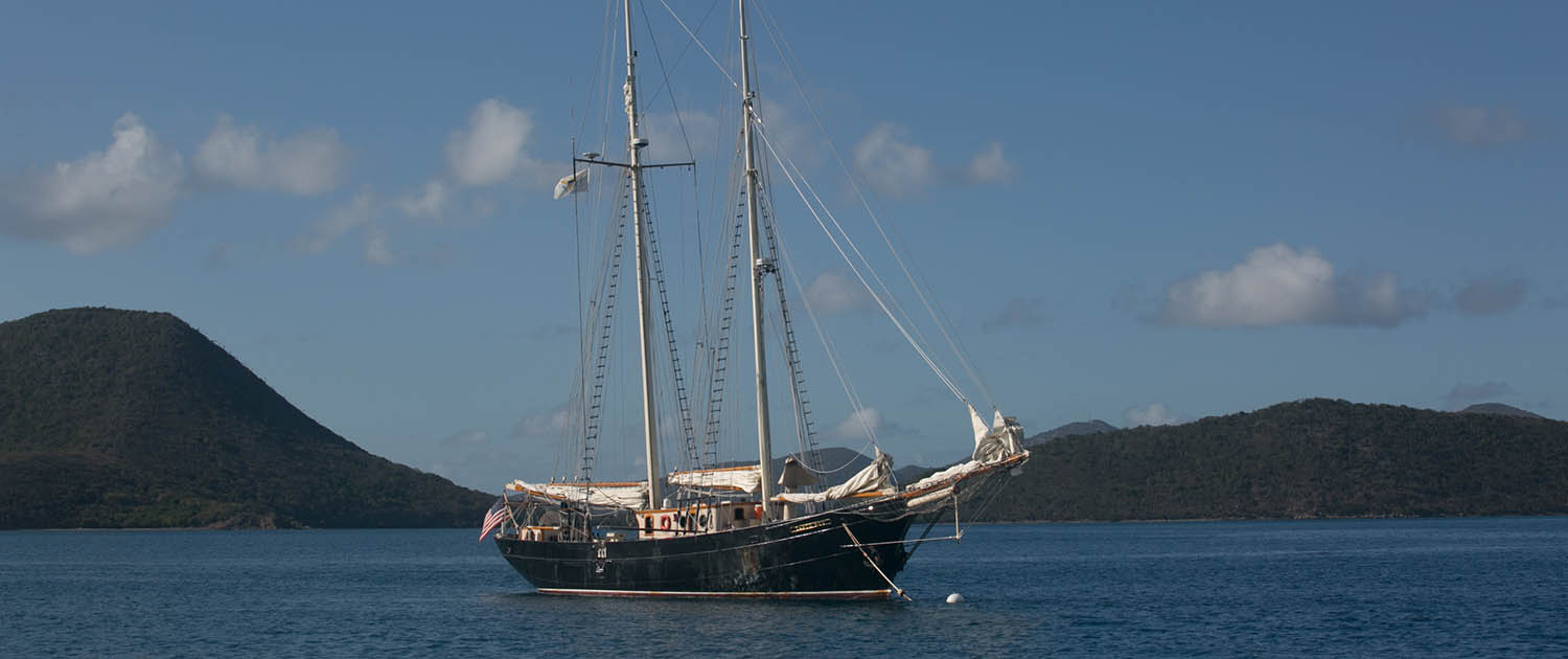 Classic yacht at anchor