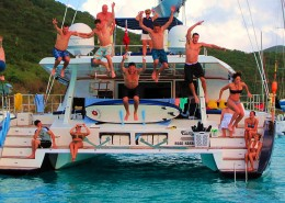 Jumping off a catamaran in the British Virgin Islands