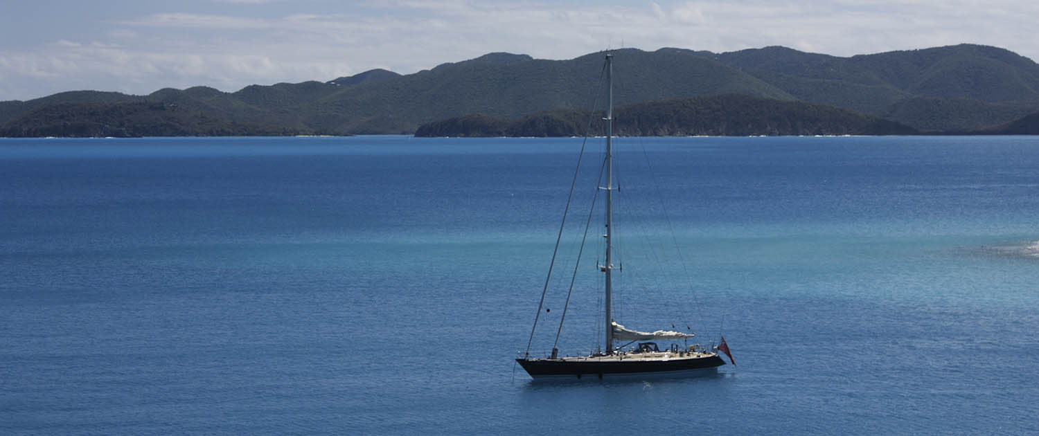 Luxury yacht at anchor