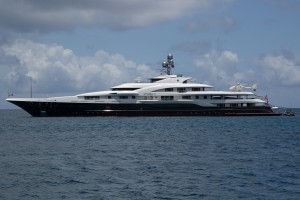 Superyacht Attessa IV off Christmas Cove USVI