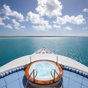 Chill out and relax in a hot tub on your Luxury Charter Yacht