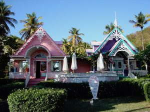 Pink and Purple House Mustique Grenadines Crewed Yacht Charter